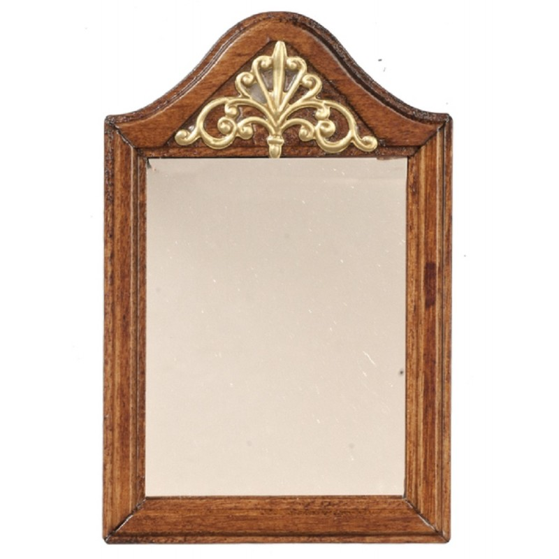 Dolls House Walnut Wooden Framed Mirror with Gold Decor Miniature Accessory 1:12