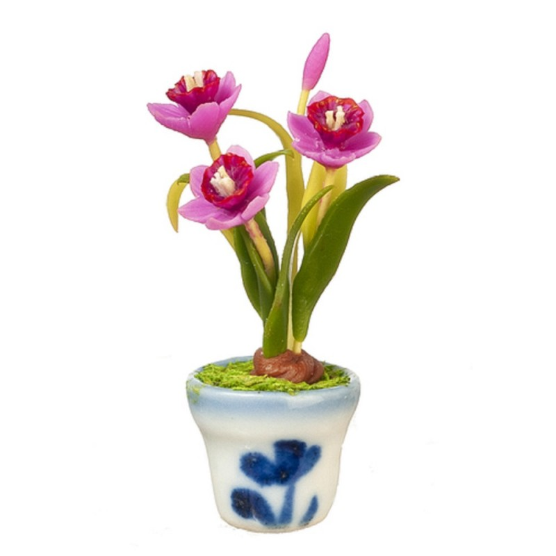 Dolls House Pink Daffodils Flowers in Pot Miniature Home Garden Accessory 1:12