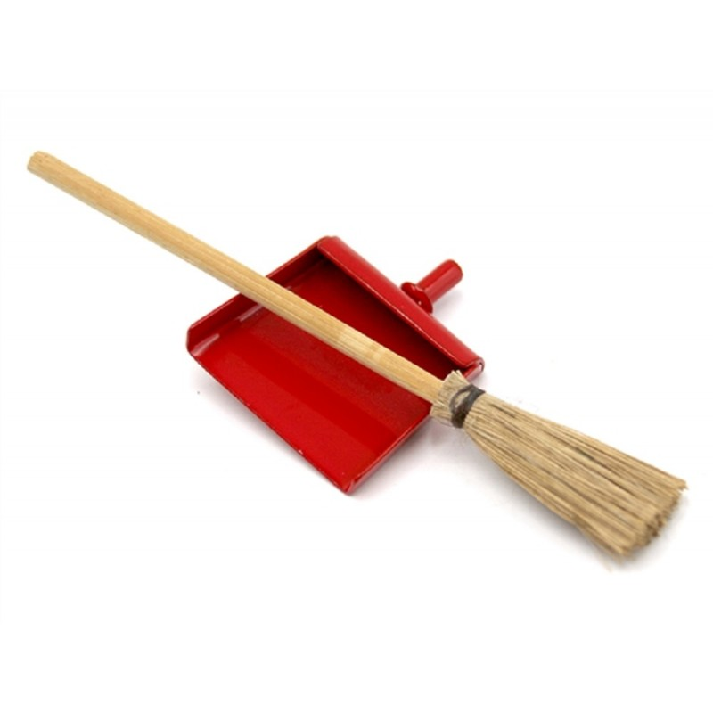 Dolls House Red Dustpan & Brush Besom Broom Miniature Kitchen Cleaning Accessory