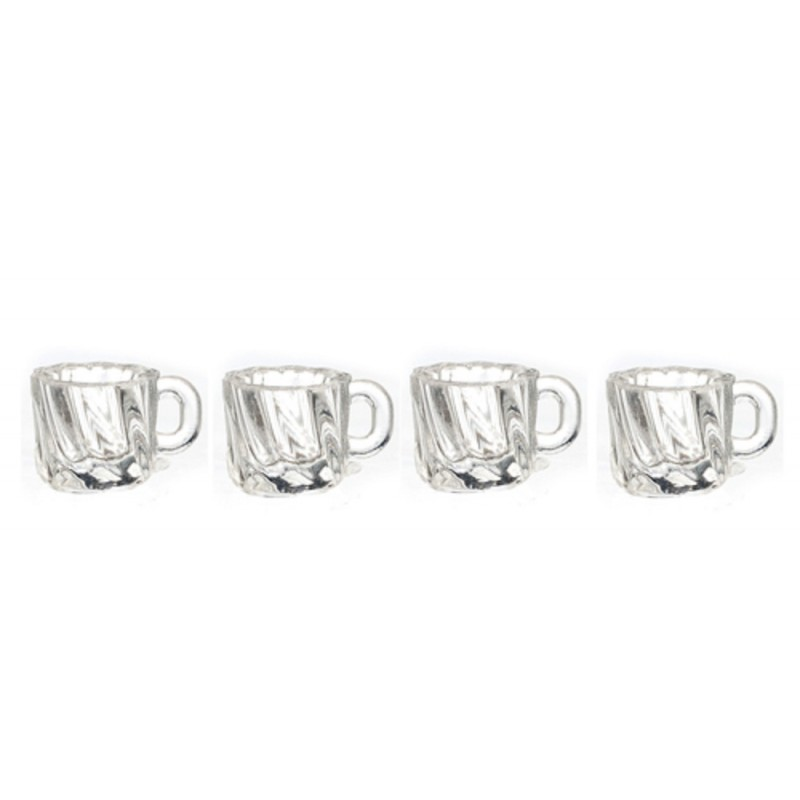 Dolls House 4 Clear Mugs Glasses 1:24 Half Inch Scale Dining Room Accessory