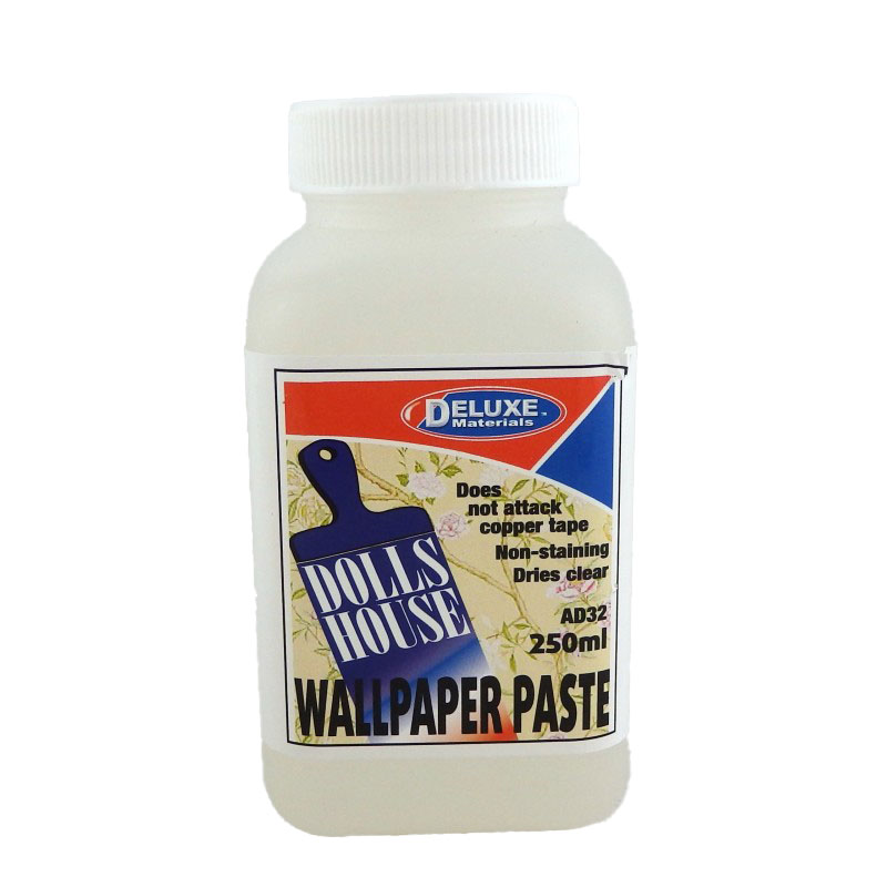 Dolls House Deluxe Wallpaper Paste - 250ml - Non-stain Dries Clear