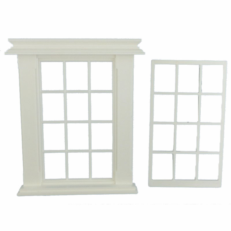 Dolls House Miniature White Plastic Georgian Window Frame 12 Pane DIY Builders