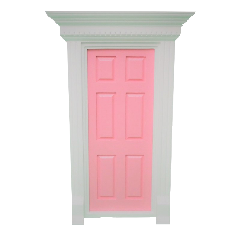 Dolls House Pink Georgian Front Door with Dentil Detail 1:12 Scale