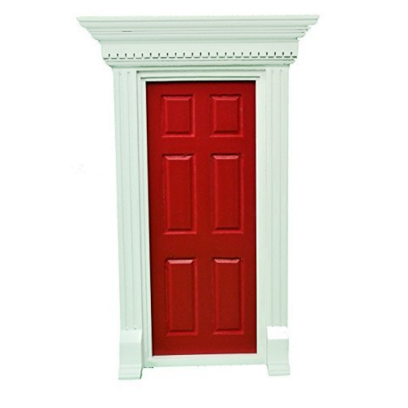 Dolls House Red Georgian Front Door with Dentil Detail 1:12 Scale