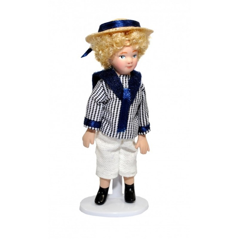 Dolls House Victorian Boy in Sailor Suit and Hat Porcelain 1:12 Scale People