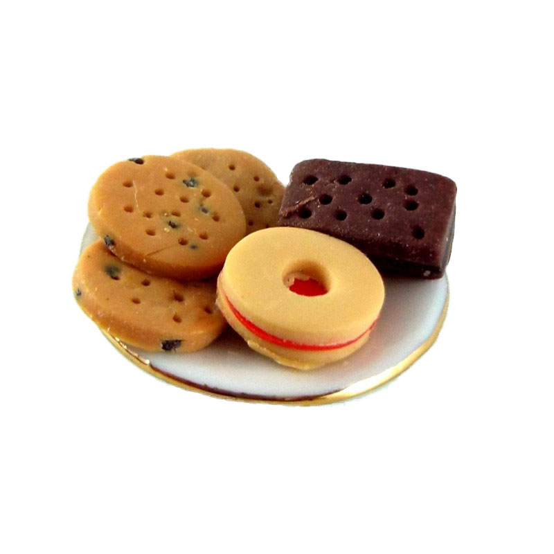 Dolls House Miniature 1:12 Scale Hand Made Accessory Assorted Biscuits on Plate