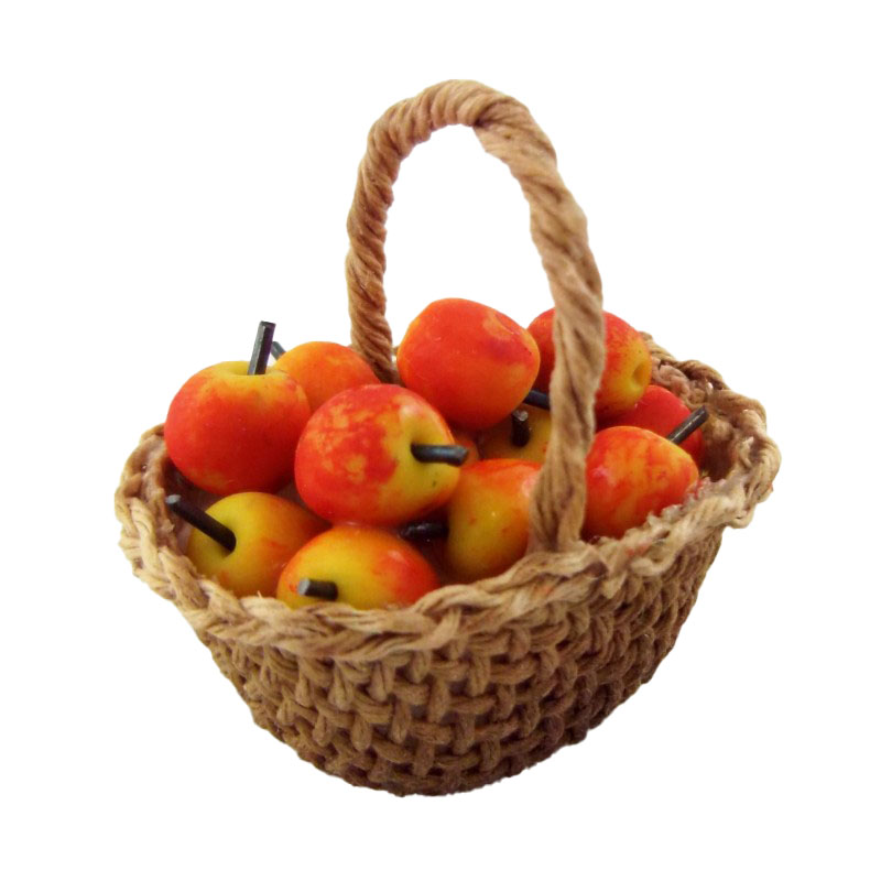 Dolls House Miniature Country Kitchen Accessory Hand Made Basket of Apples
