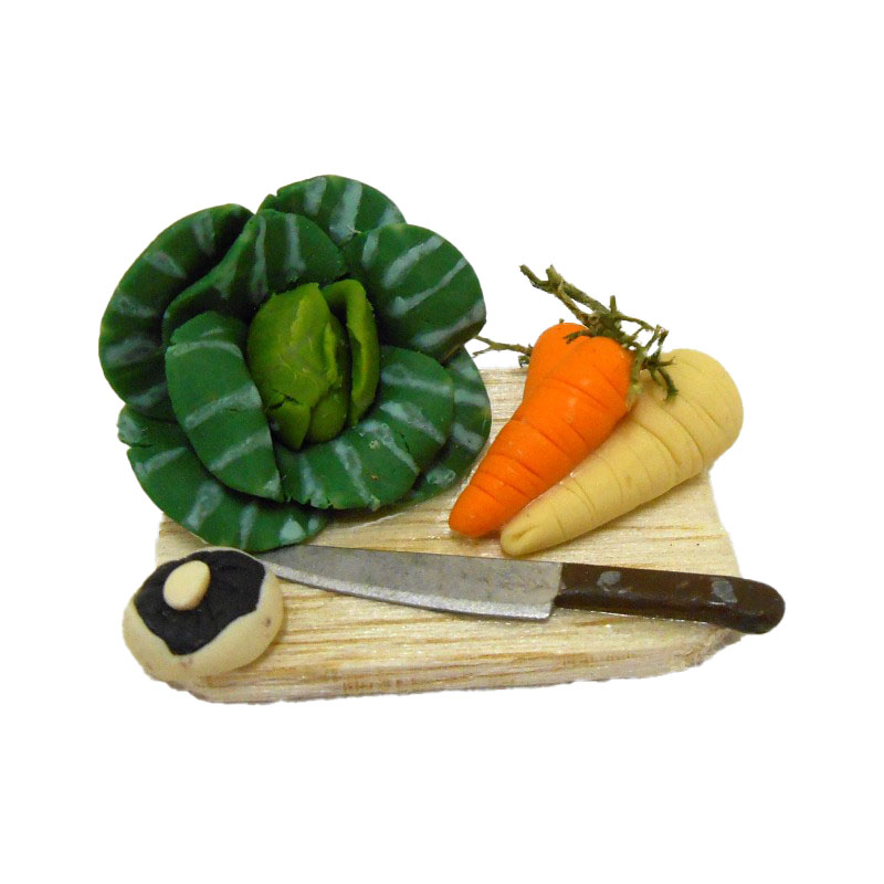 Dolls House Miniature Kitchen Accessory Cabbage and Vegetables on Chopping Board