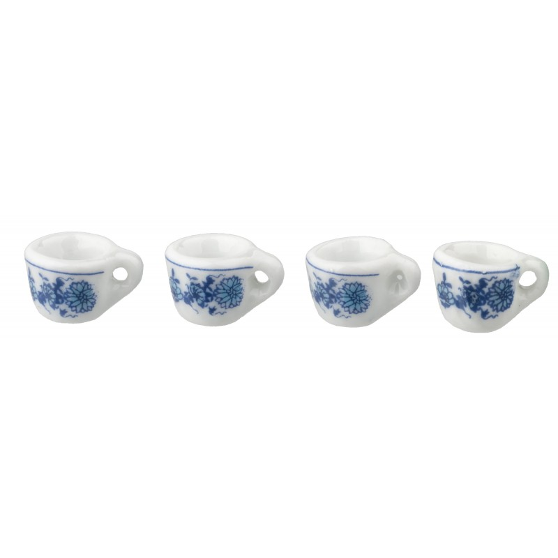 Dolls House 4 Blue Floral Cups Mugs Miniature Delft Kitchen Dining Accessory