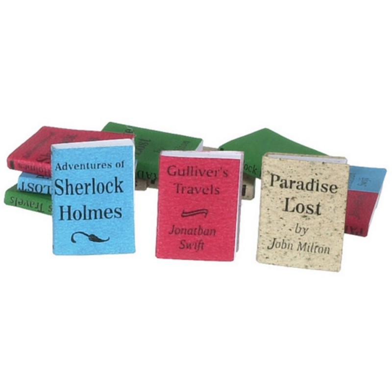 Dolls House 12 Assorted Books Blank Pages Miniature Study School Accessory