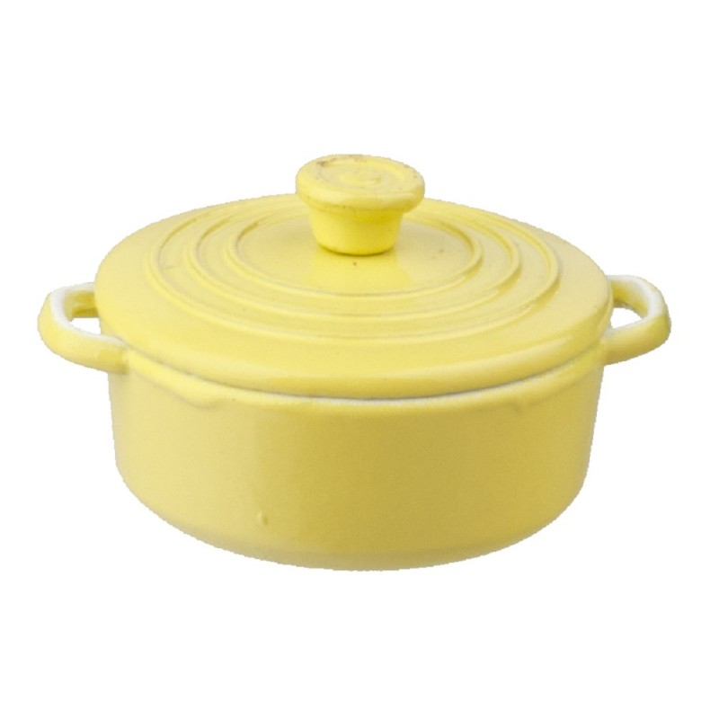 Dolls House Yellow Dutch Oven Stock Pot Cooking Dish Miniature Kitchen Accessory