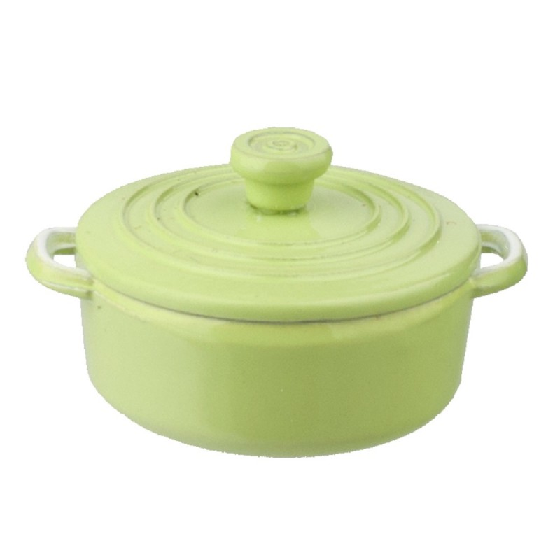 Dolls House Green Dutch Oven Stock Pot Cooking Dish Miniature Kitchen Accessory