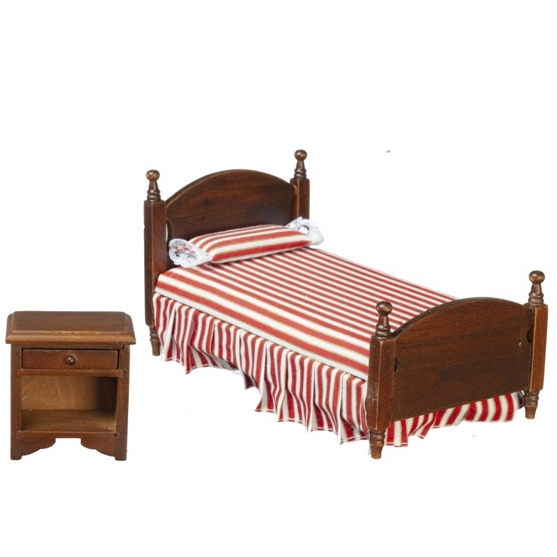 Dolls House Red Striped Single Bed & Bedside Table Miniature Bedroom Furniture