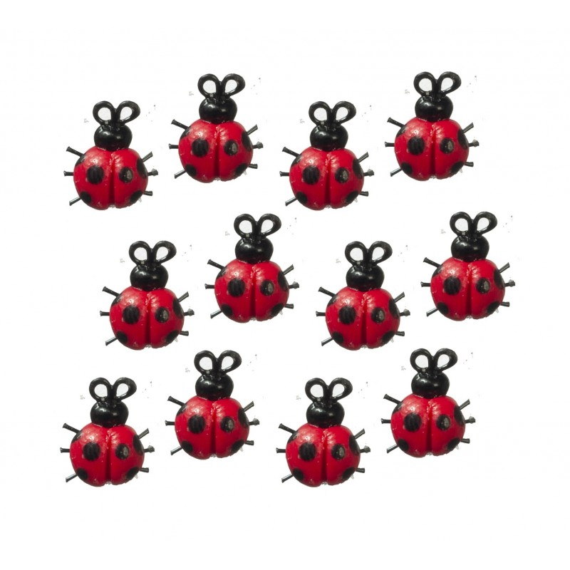 Dolls House 12 Ladybugs Ladybirds Miniature Insect Garden Accessory