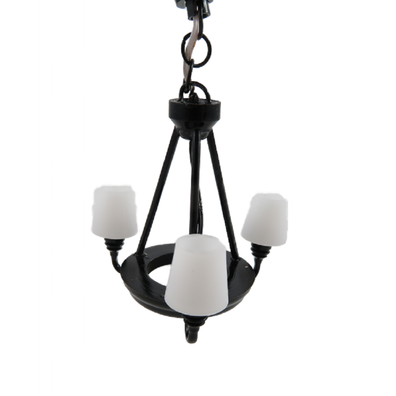 Dolls House Black & White 3 Arm Palace Chandelier 12V Electric Ceiling Light