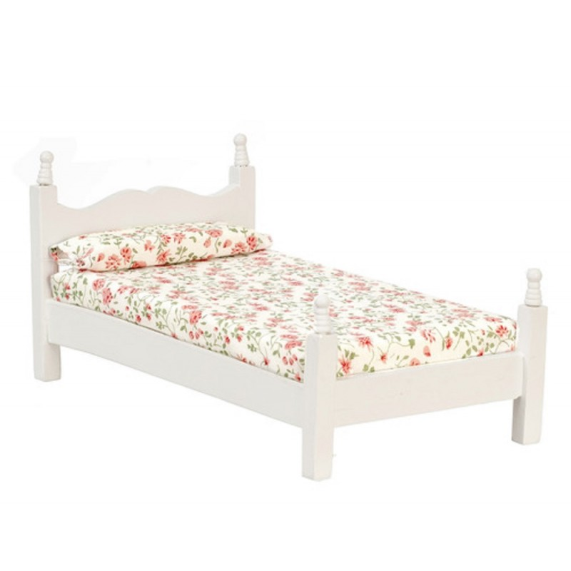 Dolls House White Single Bed with Floral Mattress Miniature Bedroom Furniture