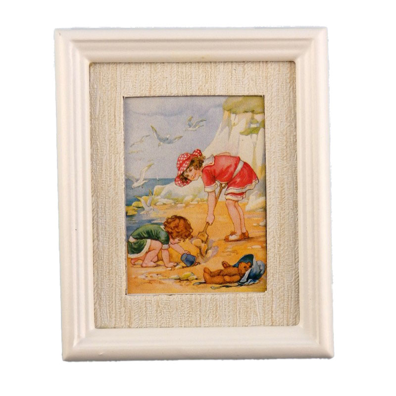 Dolls House Miniature Day at the Beach Picture Painting White Frame