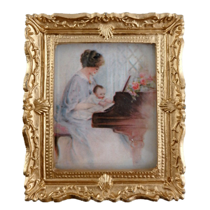 Dolls House Miniature First Piano Lesson Picture Painting Gold Frame