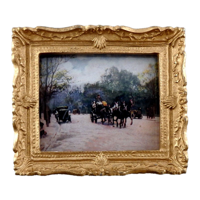 Dolls House Snowy Carriage Painting Gold Frame Miniature Accessory