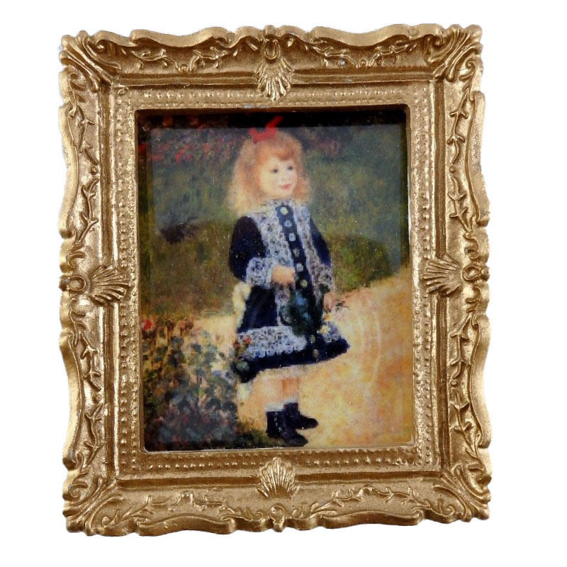 Dolls House Miniature Little Girl in Blue Painting Gold Frame