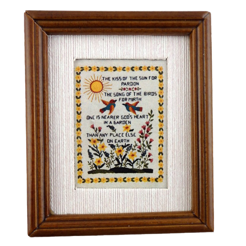 Dolls House Miniature Sampler The Kiss of the Sun Picture In Frame