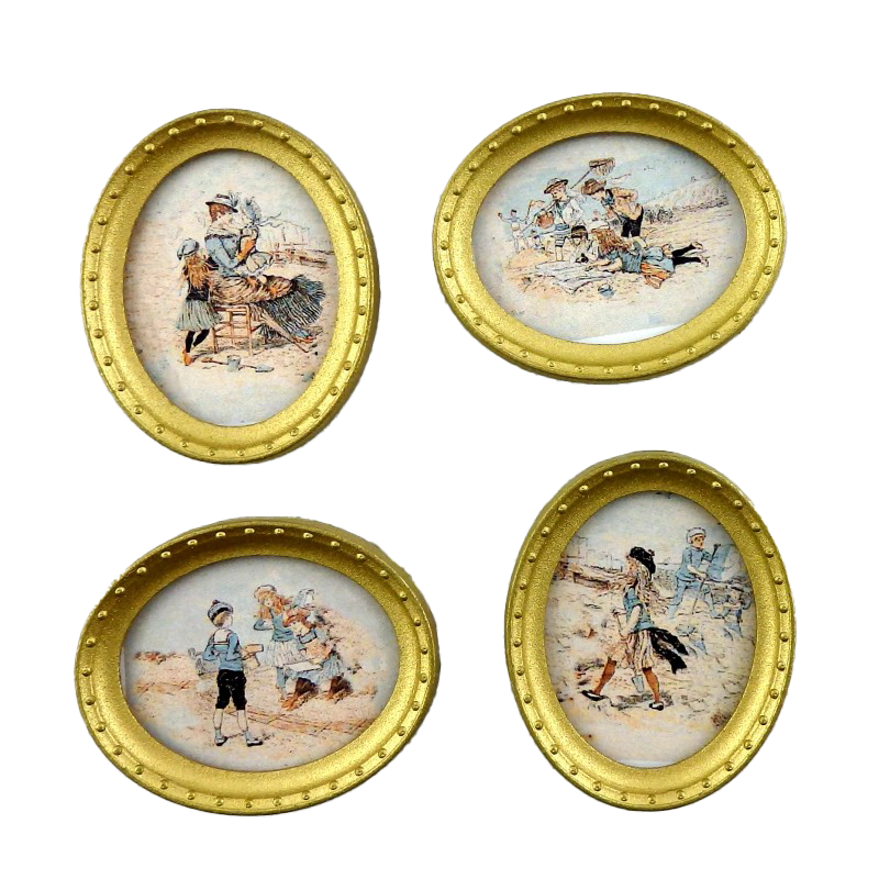 Dolls House Edwardian Beach Scene Pictures Oval Gold Frame Miniature Accessory