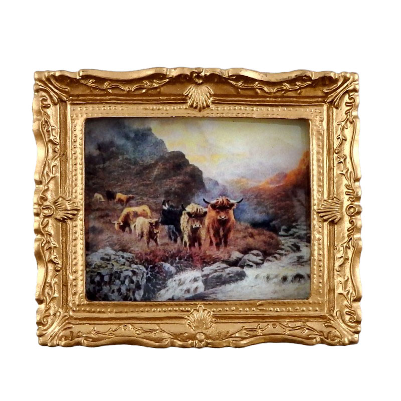 Dolls House Miniature Accessory Highland Cattle Painting Gold Frame