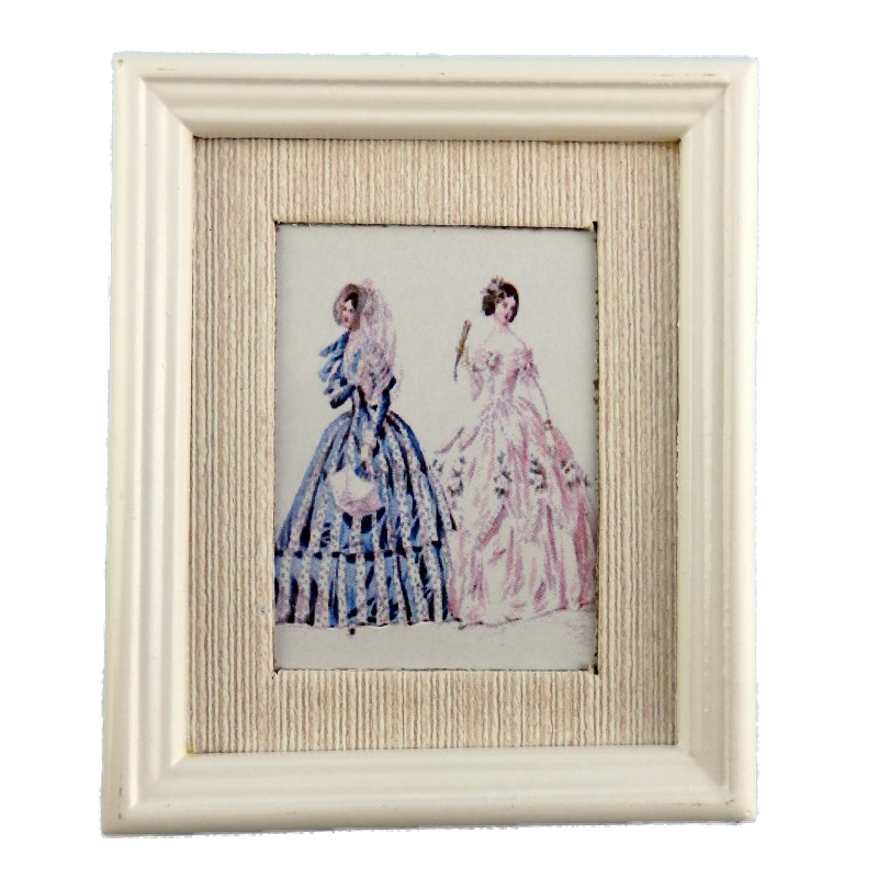 Dolls House Summer Fashion Painting White Frame Miniature Accessory Picture