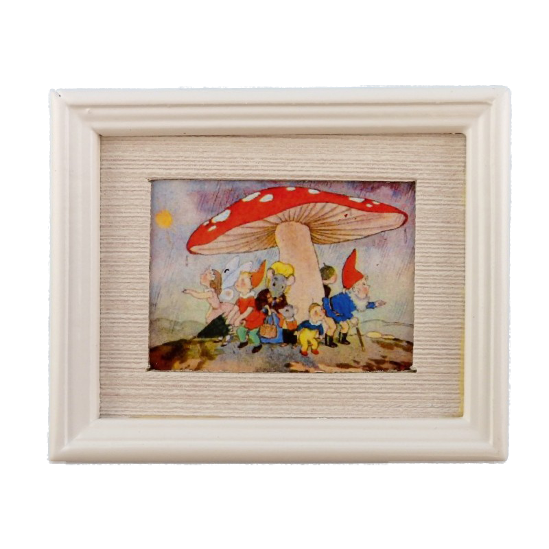 Dolls House Toadstool Shelter Painting White Frame Miniature Picture Accessory