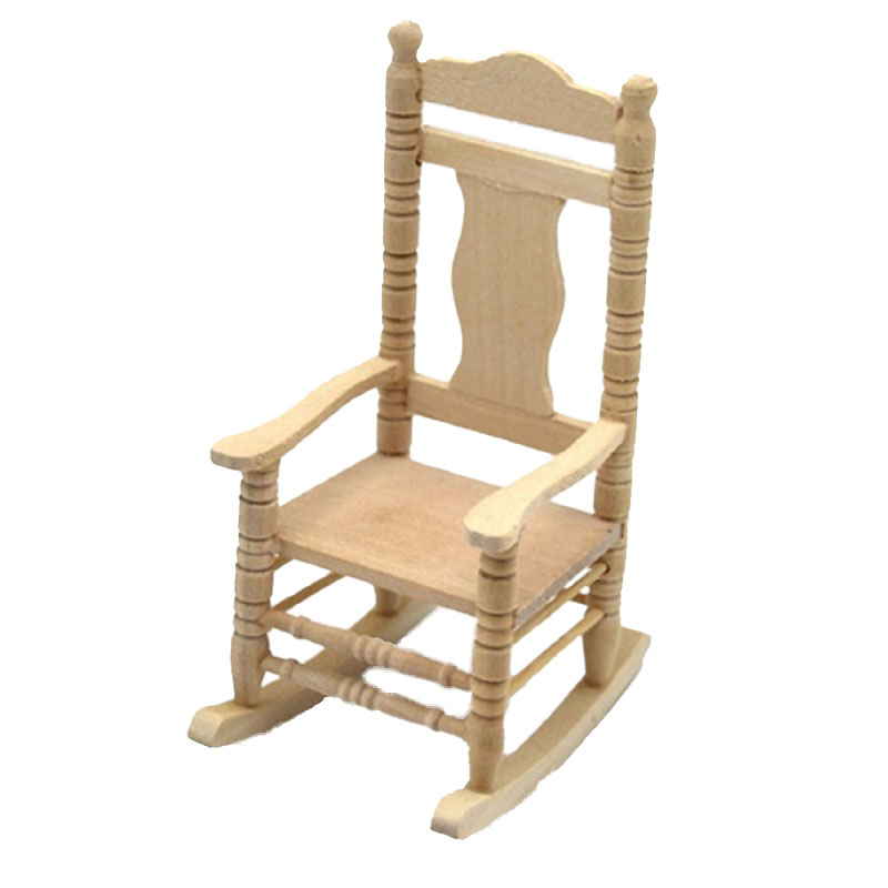 Dolls House Bare Wood Rocking Chair Unfinished Rocker Miniature Furniture 1:12