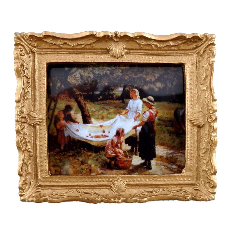 Dolls House Miniature Picking Apples Picture Painting Gold Frame