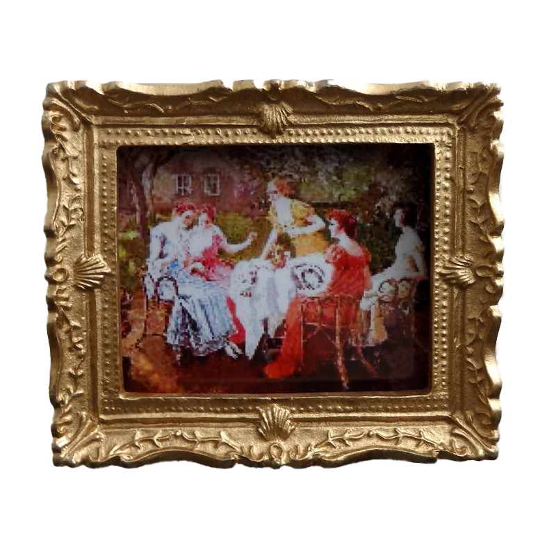 Dolls House Miniature Framed Victorian Sewing Party Painting