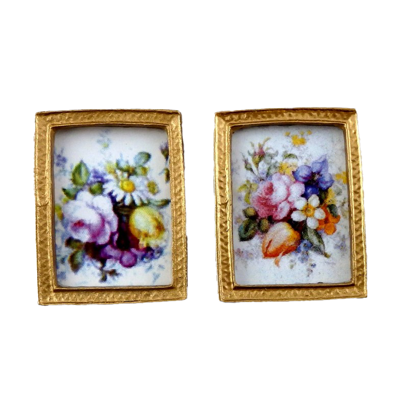 Dolls House Miniature Accessory 2 Flower Paintings in Gold Frames