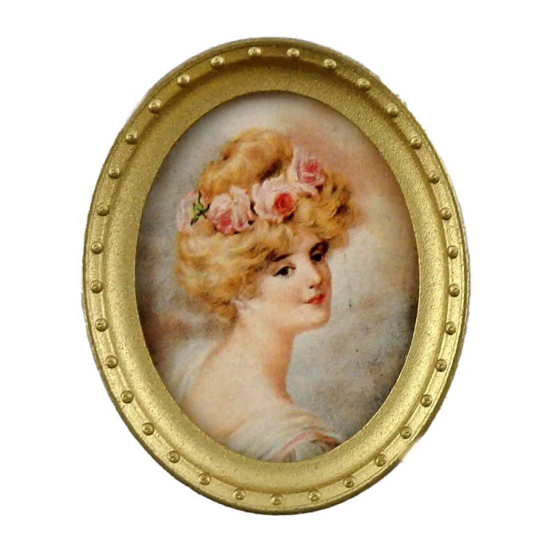 Melody Jane Dolls House Miniature Lady Portrait Picture in Oval Gold Frame B