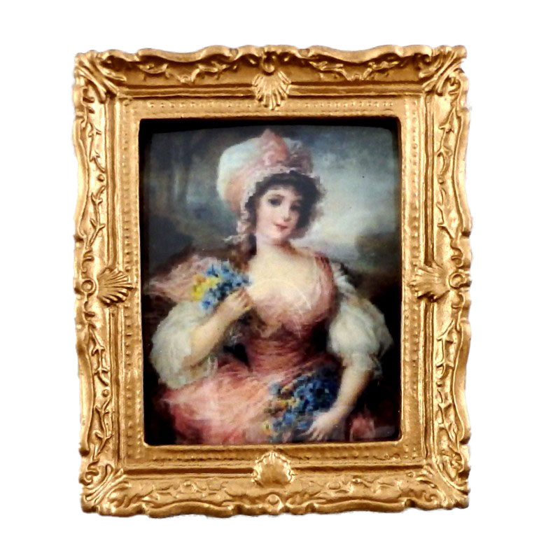 Dolls House Miniature Accessory Lady in Pink Painting Gold Frame