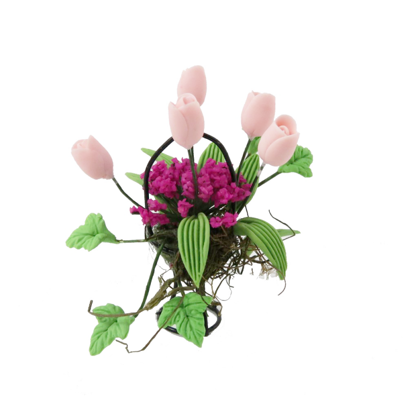 Dolls House Pink & Pink Flower Display in Black Wire Basket Garden Accessory
