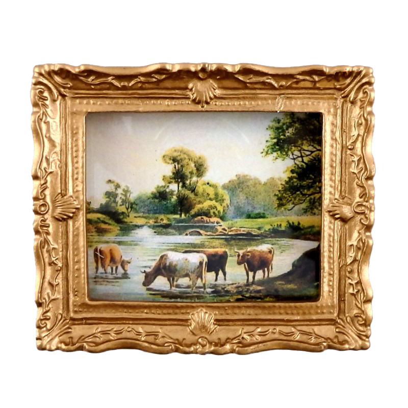 Dolls House Miniature Grazing Cattle Scene Painting Gold Frame