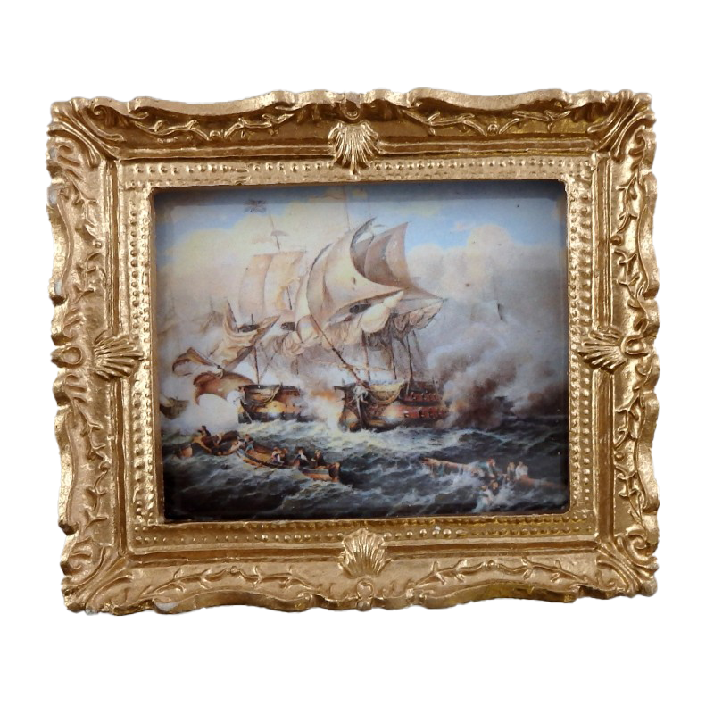 Dolls House Miniature Accessory Battle at Sea Painting Gold Frame