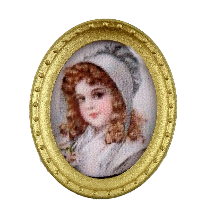 Dolls House Young Girl Portrait Picture Oval Gold Frame A Miniature Accessory