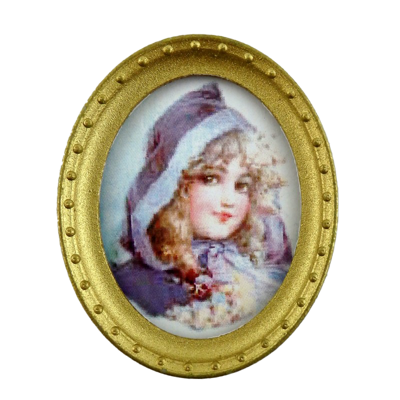 Dolls House Miniature Young Girl Portrait Picture Oval Gold Frame B