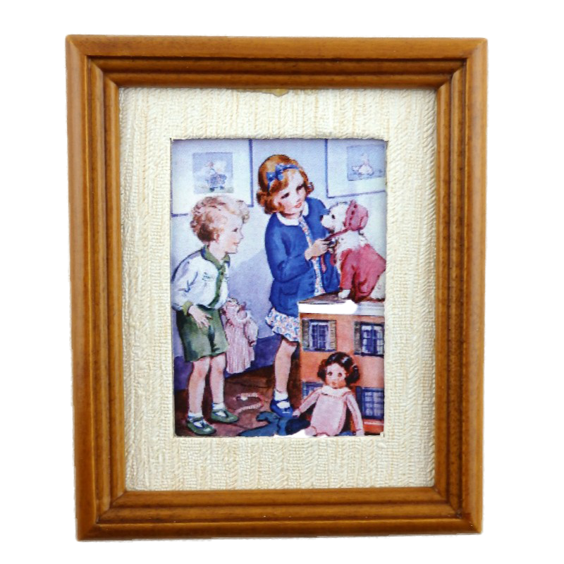 Dolls House Miniature The Playroom Picture Painting in Walnut Frame