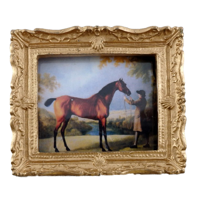 Melody Jane Dolls House Miniature Horse & Trainer Picture Painting Gold Frame