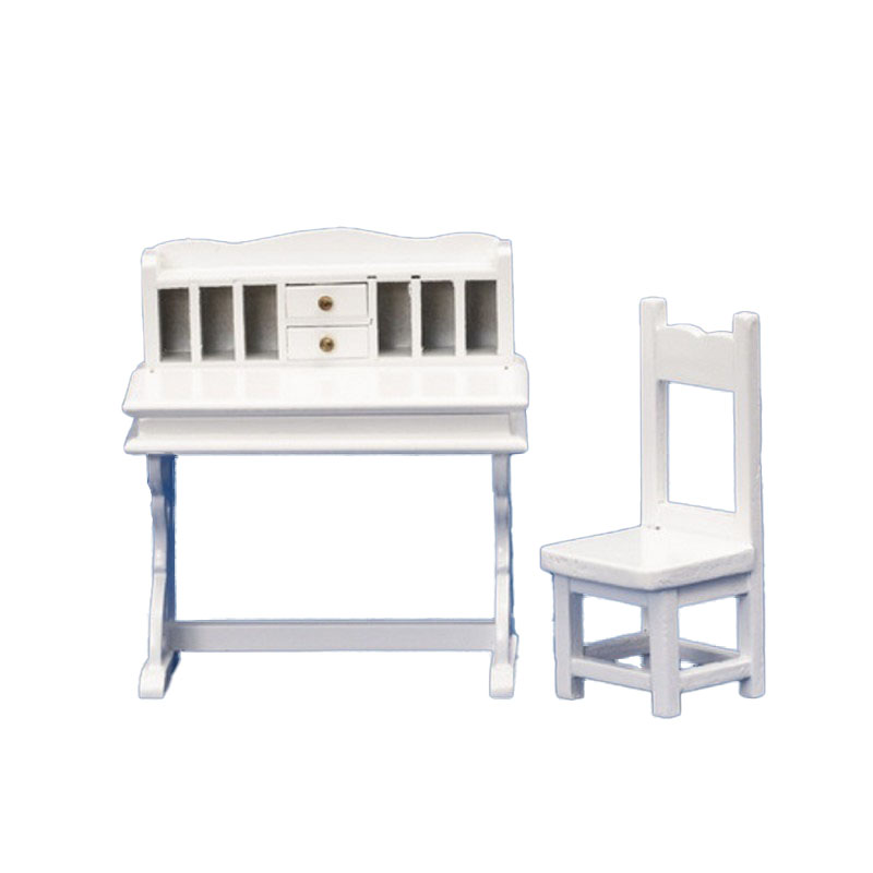 Dolls House White Wood Writing Desk & Chair Miniature Study Office Furniture