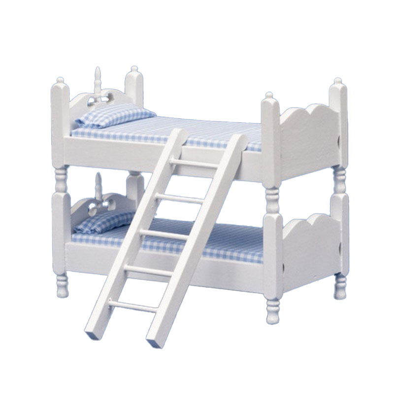 Dolls House Miniature 1:12 Bedroom Furniture White Wooden Blue Gingham Bunk Beds