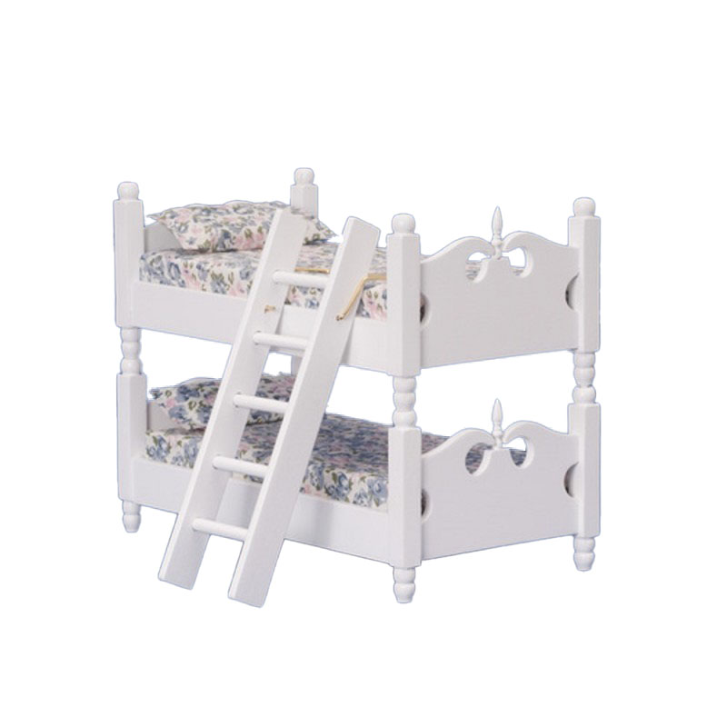 Dolls House White Wooden Bunk Beds Miniature 1:12 Bedroom Furniture