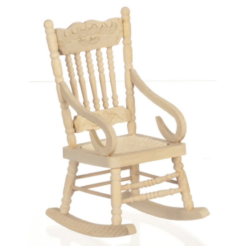 Dolls House Rocking Chair with Woven Seat Unfinished Rocker Miniature Furniture
