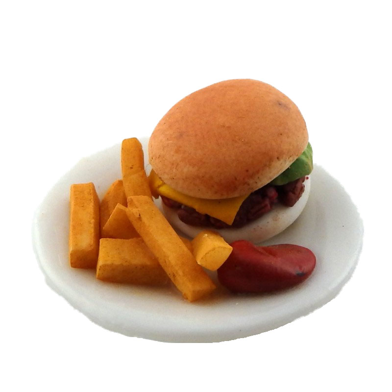 Dolls House Burger Chips and Ketchup Dinner Miniature Handmade Dining Accessory