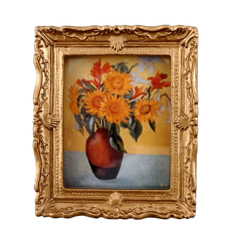 Dolls House Vase of Sunflowers Picture Painting Gold Frame Miniature Accessory