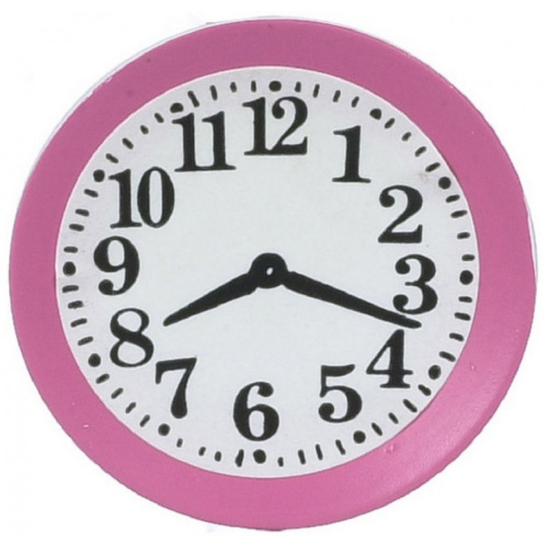 Dolls House Pink Kitchen Wall Clock 1:12 Scale Miniature Accessory