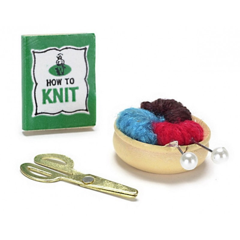 New Dolls House Miniature Sewing Room Accessory Knitting Set